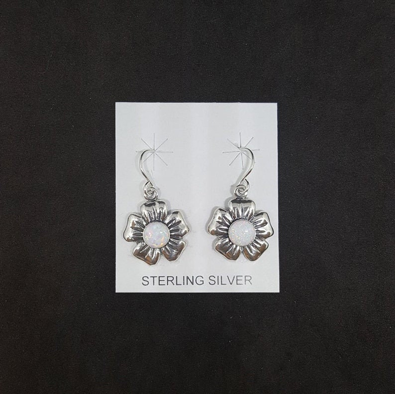 Hibiscus flower 6 mm round White Fire Opal sterling silver dangle earrings