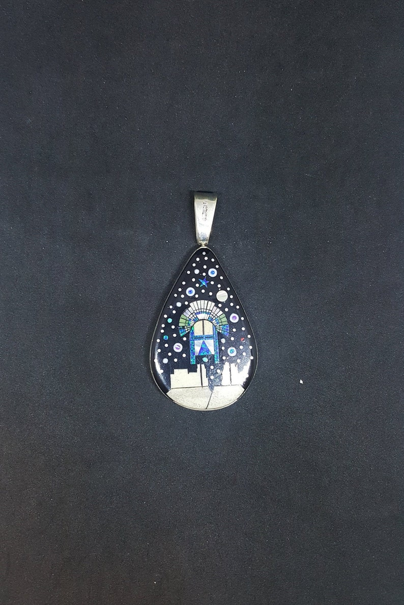 Southwest Night sky chief head mountain micro inlay sterling silver pendant necklace