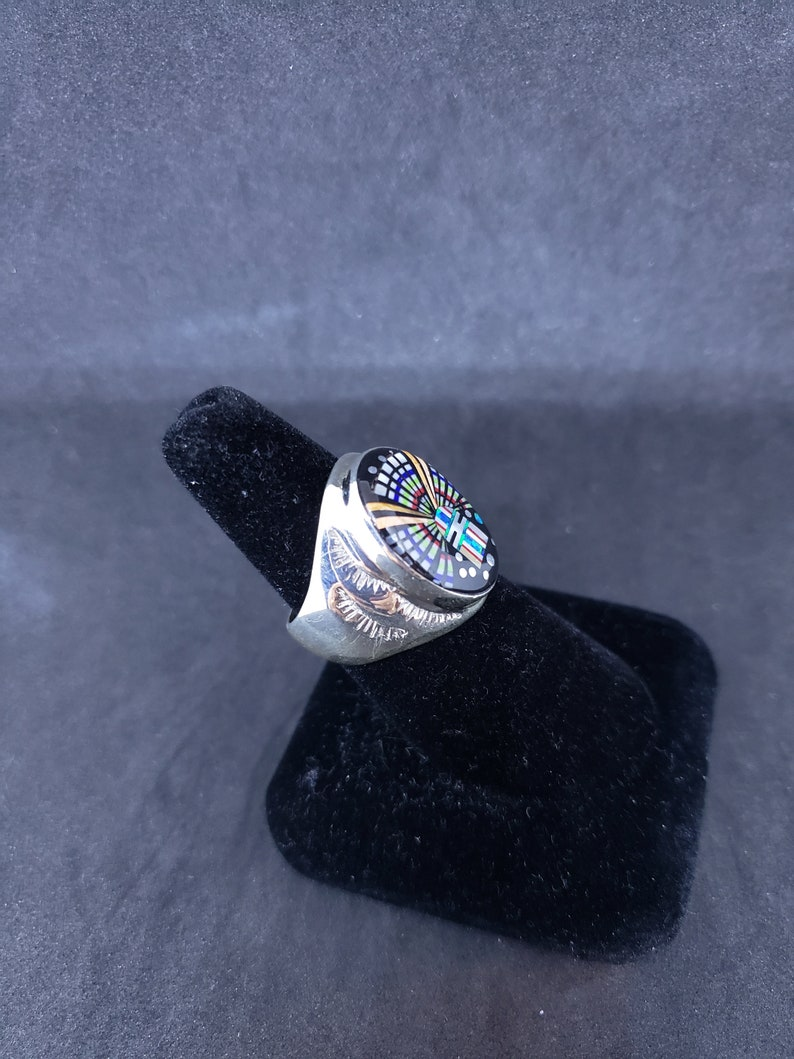 Size 9 34 men/'s ring inlay multi stones black onyx turquoise blue opal red coral pearl sterling silver ring