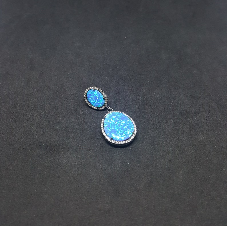Oval Blue Fire Opal micro CZ Sterling Silver Opal Pendant
