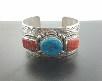 Navajo Kingman turquoise red spiny oyster cuff bracelet-sterling silver