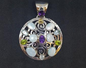 Natural Larimar Amethyst Blue Topaz Citrine Peridot sterling silver Round Pendant