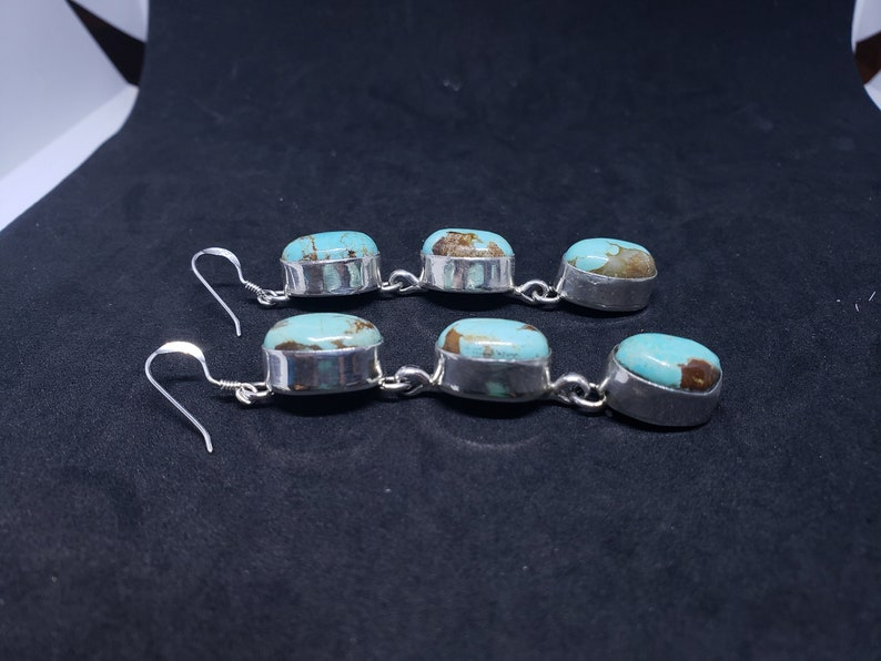 Navajo Royston turquoise oval 3 stones long sterling silver dangle earrings