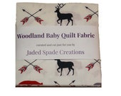 Woodland Deer Bear Baby Quilt Kit, Pre-cut Quilt Fabric Squares, Charm Pack, Deer Woodland Quilt Fabric Red, White, Black Book Nook Quilt