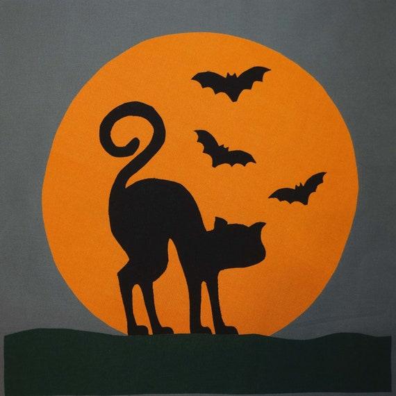 Halloween Cat Applique Quilt Block Pattern