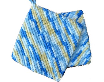 Yellow, Aqua and White Cotton Hot Pad Pot Holders Double Thick Kitchen Accessories - Set of 2