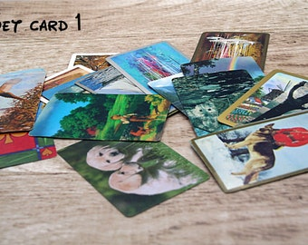 20 playing card miscellaneous size all from different packs, Ephemera pack, Thrift store ephemera, card toppers