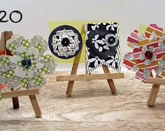 Handmade, flower set, craft, recycled book, buttons, sewed by hand, handstiched,