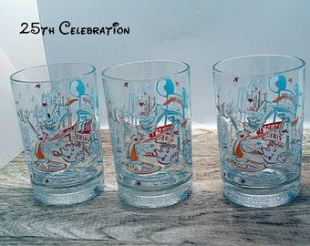 Vintage Walt Disney World glasses, Walt Disney World Millennium 2000 McDonalds Mickey Mouse glasses, Disney World Celebration 25 th glasses