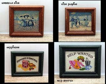 Vintage needlepoint/needlework art frame,  wall frame, wall art, retro wall art, petit point