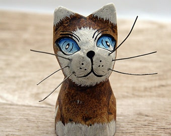 Wood cat figurine handpainted