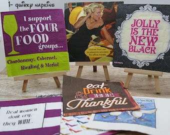 Paper napkin sets,  ephemera, collage elements, embellishments