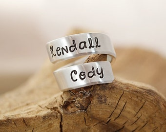 Personalized Wrap Ring - Mommy Ring - Hand Stamped Jewelry - Personalized Rings - Wrap Ring - Personalized Jewelry by Pink Lemon Design