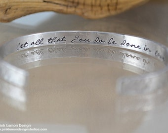 Secret message bracelet - Personalized Bracelet Let all you do be done in love - 1 Corinthians 16:14 - Gifts for mom - Inspirational jewelry