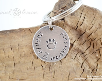 Personalized Dog Tag - Pet Tag - Pet Id Tag - Hand Stamped Dog Collar Tag - Customized Id Tags for Pets by Pink Lemon Design