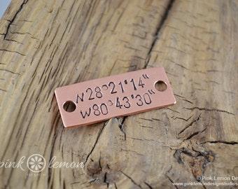 Marathon Jewelry - Running Jewelry -  Latitude Longitude Jewelry - Running Tags for Shoes - Ultras, 26.2, 13.1, 5k, 3.1 - Brushed Copper