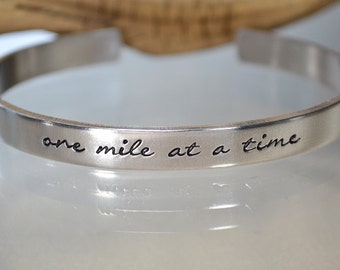 Gifts for Runners - Runners Jewelry - Engraved Bracelets - Marathon Jewelry - Quote Bracelet - Running Jewelry - Custom Sterling Silver Cuff