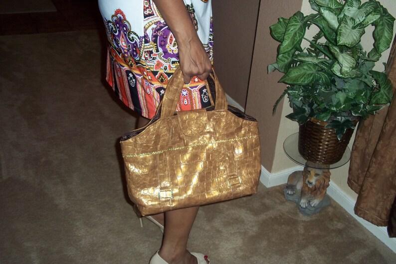 Women Gold Faux Leather  Purse Handmade by Mvious Da/'Zigns Handbags Totebags
