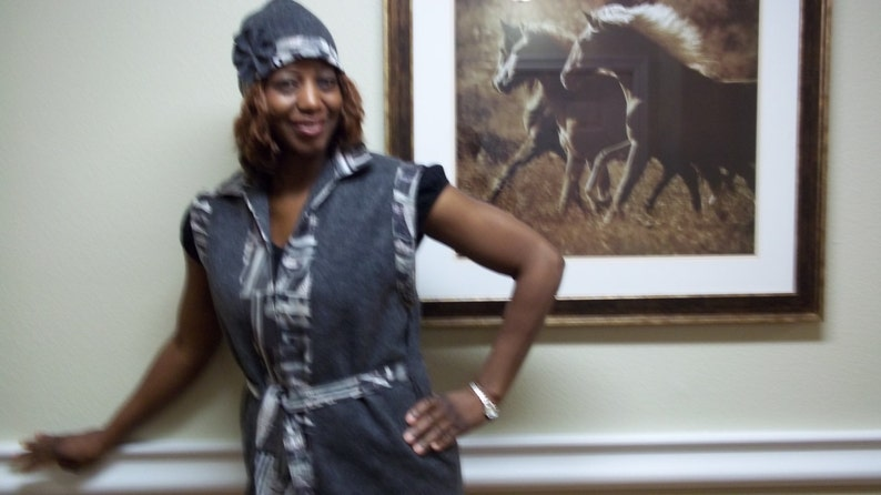 Smoke Gray Felt Vest and Hat set Casual Fall and Winter wear for women Handmade by Mvious Da/'Zigns