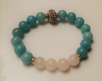 Amazonite Jade and White Stretch Bracelet Large Luscious 10mm Gemstone
