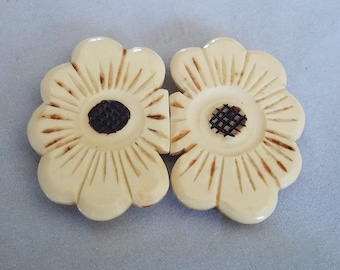 Vintage Belt Buckle Carved Flower Two Piece Bakelite Celluloid