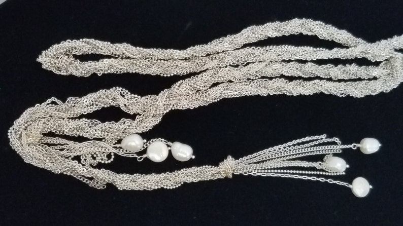 Long Silver Lariat Necklace Woven Multi Strand Chain Faux Pearl Ends