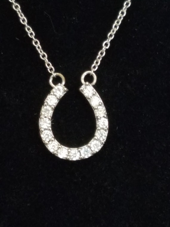 Lucky Mother of Pearl Horseshoe with Stars 925 Sterling Silver Pendant New