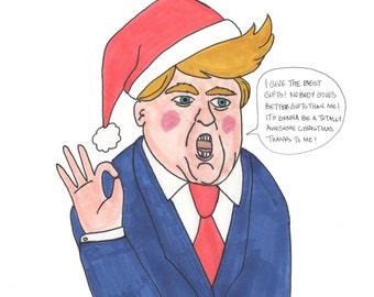 Donald Trump Best Gift Giver Holiday Christmas Card Original Art