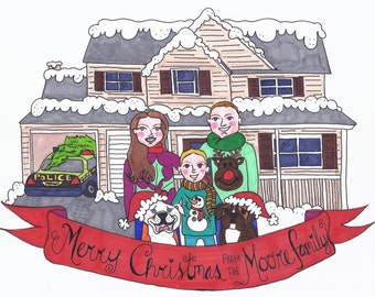 Personalized Hand Drawn Christmas Holiday Card Design
