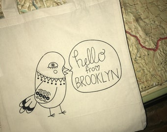 Hello From Brooklyn Canvas Tote