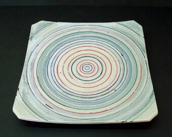 Large ceramic platter, square platter, large serving dish, handmade, pottery platter, blue ceramic dish, red white and blue