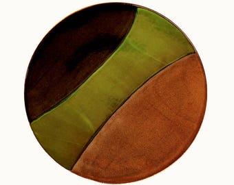 Large ceramic platter, large pottery platter, serving dish, handmade, green ceramic platter, high fired