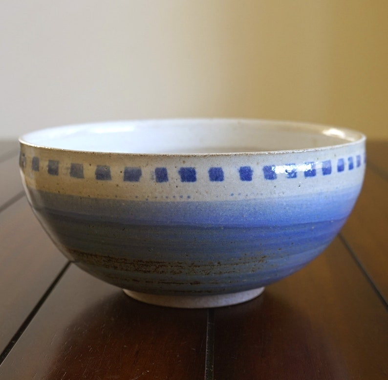 handmade serving bowl Large ceramic bowl fruit bowl rustic bowl blue pottery bowl