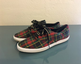 051e094d84f KEDS Champion Vintage 80 s 90 s Holiday Christmas Plaid Shoes Sneakers w  Double Ribbon Laces Sz 8.5 Ex. Cond!