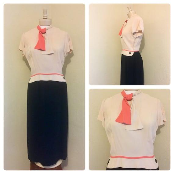 1940's RARE Vintage Lt Pink Blush, Coral, Black Co