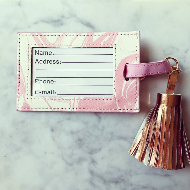 Personalized Leather Marble Luggage Tag with Tassel