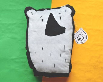 Handmade Polar Bear Cushion Dark Grey