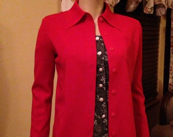 Great Sixties Polyester Knit Red Sweater by Le Roy