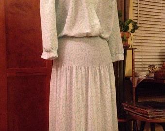 Soft Chiffon Green and White Eighties Dress