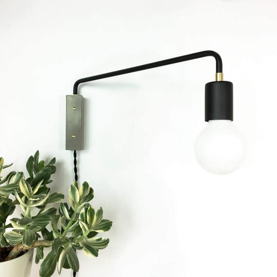 Swing Arm Wall Sconce Matte Black Corded Simple Installation Modern Wall Sconce Plug In Switch Concrete Lighting Fixture Adjustable