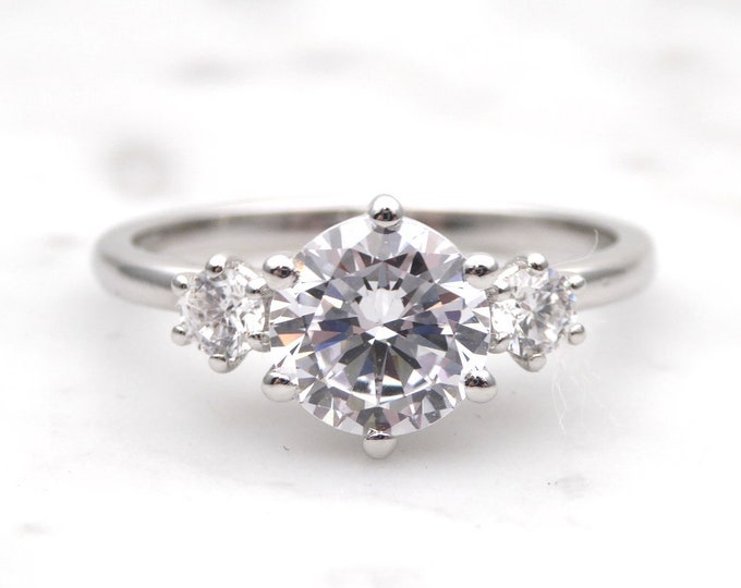 Genuine moissanite & Solid Gold Trilogy ring - engagement ring