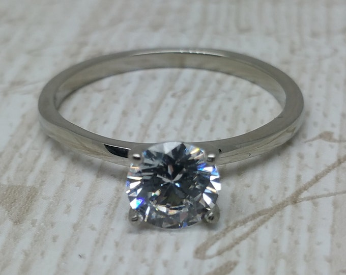 1ct 6mm Man Made Diamond Simulant solitaire ring in Titanium or White Gold - engagement ring - wedding ring - handmade ring
