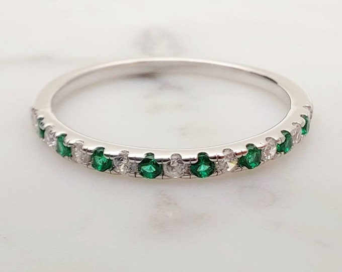 1.8mm wide Natural Emerald and diamond Half Eternity stacking ring  in white gold or Silver - stacking ring - wedding band - handmade ring