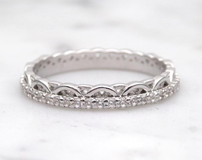Moissanite Solid Gold  wedding ring - stacking ring - wedding band