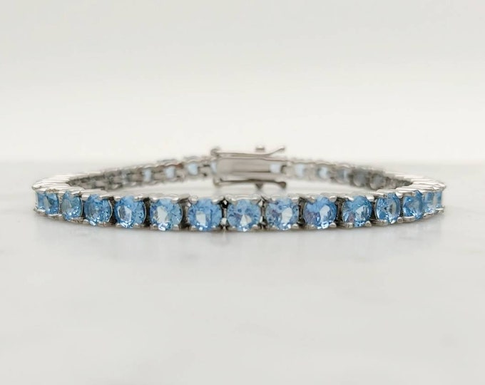 4mm natural aquamarine PURE TITANIUM tennis bracelet - different lengths available