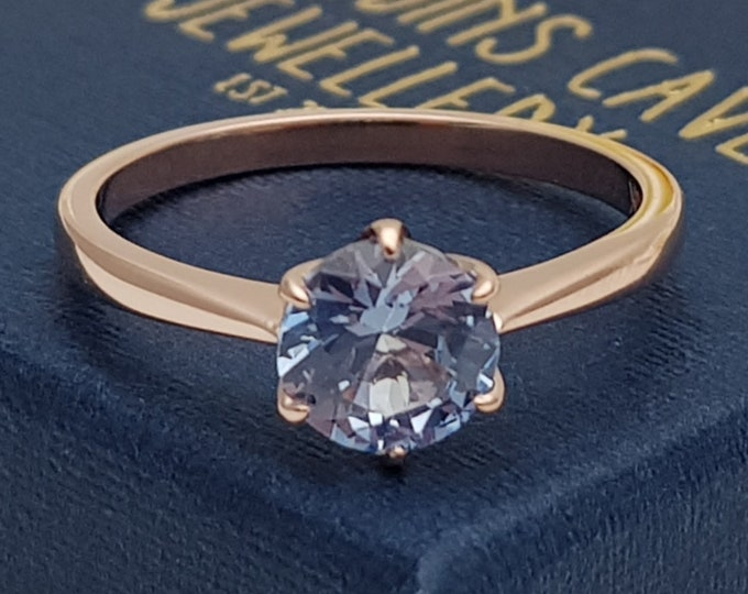 1ct Natural Aquamarine Solid gold solitaire ring available in 10k, 14k, 18k Rose, yellow or white gold - engagement ring