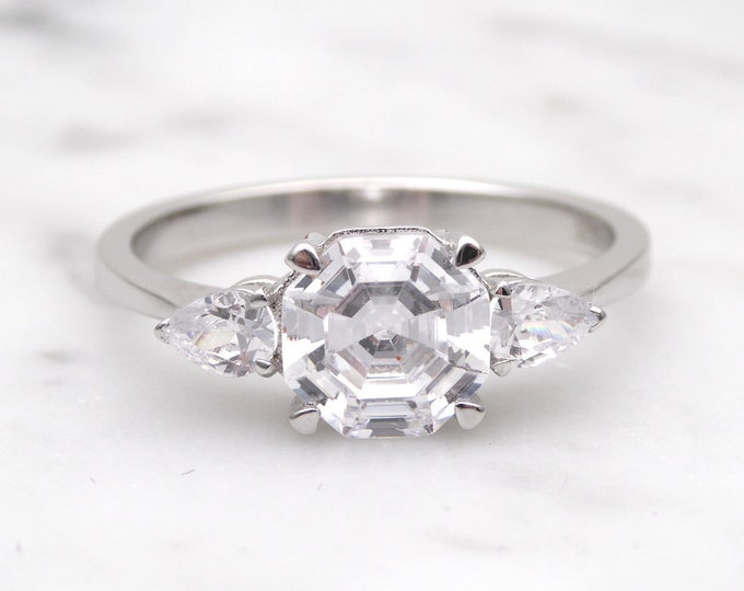 Genuine Asscher moissanite & Solid Gold Trilogy ring - engagement ring