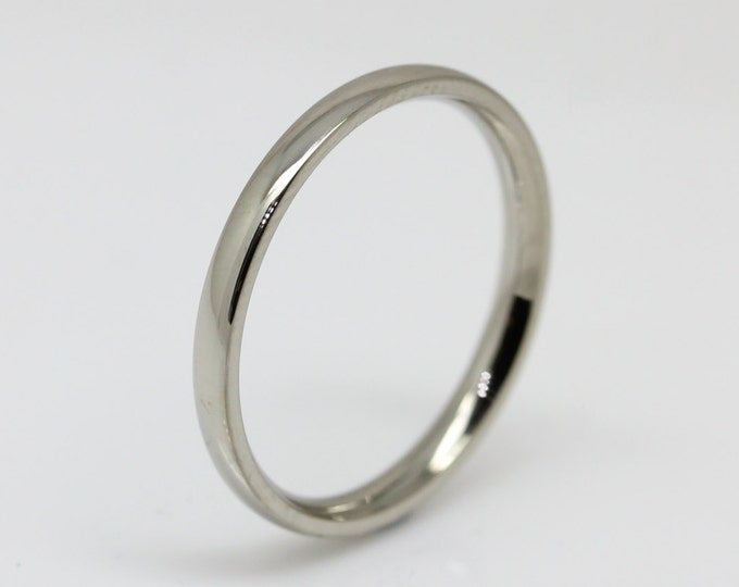 2mm Surgical Steel Comfort Fit / Court Shape Plain band Wedding Ring
