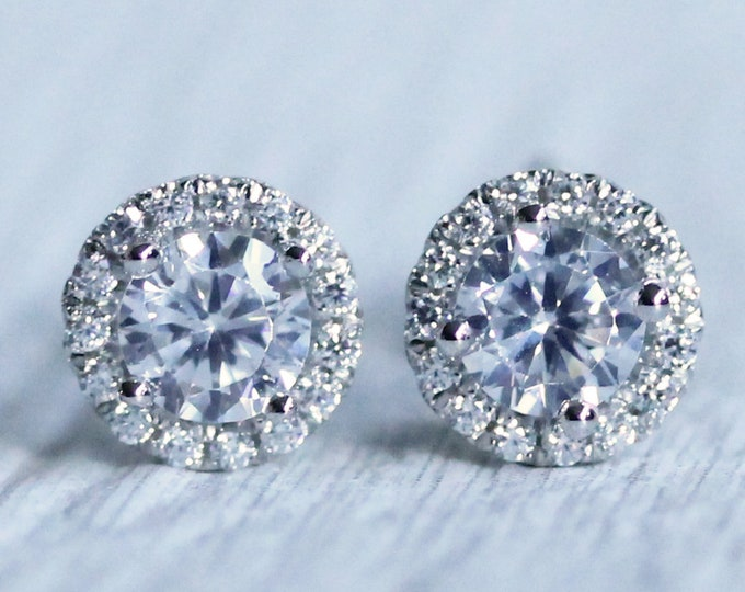 On Sale Man Made Diamond Simulant Halo stud earrings, Available in Sterling silver and White gold filled, 3mm or 4mm sizes