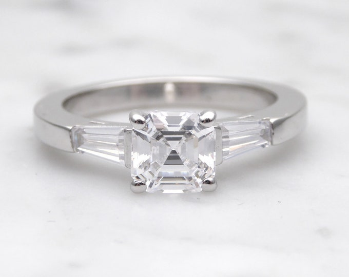 Asscher moissanite & Solid Gold Trilogy ring - engagement ring